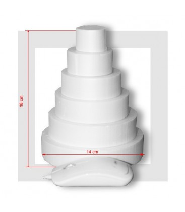 SUPPORT PIECE MONTEE POLYSTYRENE 6 ETAGES Base 14 cm