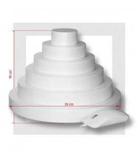 SUPPORT PIECE MONTEE POLYSTYRENE 6 ETAGES Base 26 cm