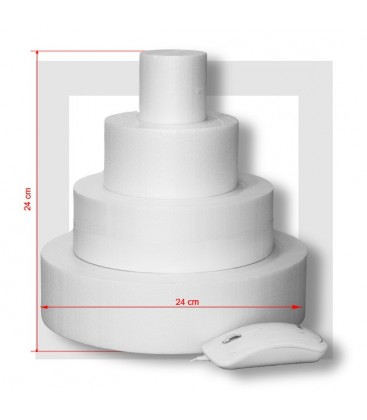 "4 ETAGES Base 24 cm - SUPPORT PIECE MONTEE POLYSTYRENE grande épaisseur ""Wide"""