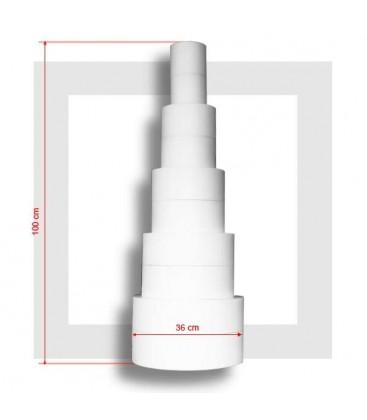 Pyramide 5 étages , base 30 cm épaisseur 200 mm, la monégasque