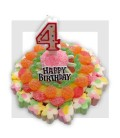 Le Gâteau d'anniversaire tout en bonbons et avec sa bougie
