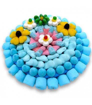 Grande tarte bleue fleurie