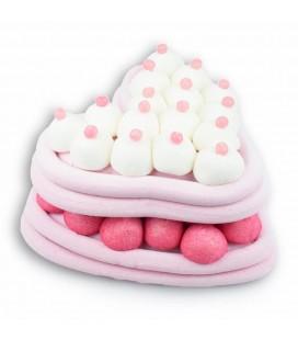 Macaron en cœur de bonbons roses et blancs