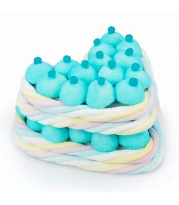 Macaron en cœur de bonbons bleu