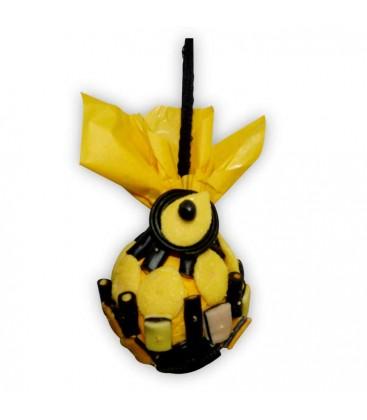 La boule jaune et noire - boule de pétanque
