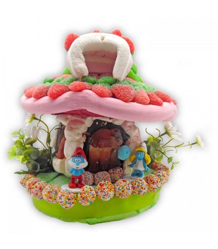 La schtroumpf maison composition de bonbons fleurie - Schtroumpf maison ...