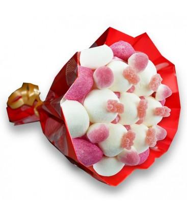 """Bouquet de bonbons """"JE T'AIME""""-Emb cello+papier cadeau rouge"""