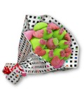 """Bouquet de bonbons """"Ik houd van je""""-emb cello+papier cadeau à carreau"""