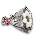 Bouquets Choco ruban blanc-emballage carreaux couleur
