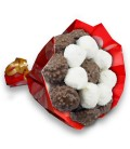 Bouquets Choco ruban blanc-emballage rouge