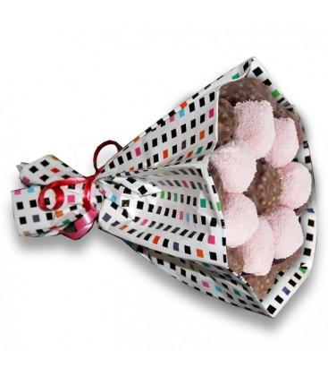 Bouquets Choco ruban au riz soufflé et cocoballs rose