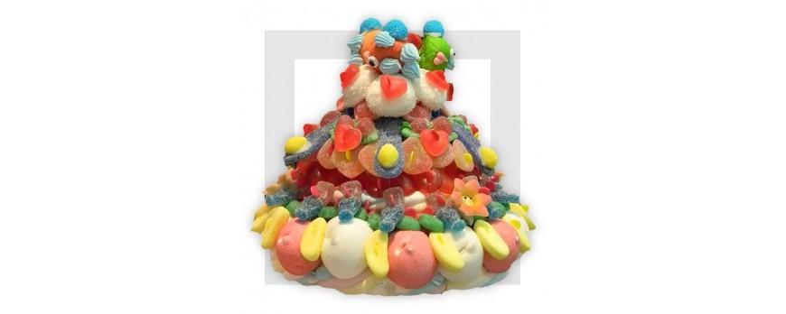 Gâteaux et compositions de bonbons, bonbons et accessoires